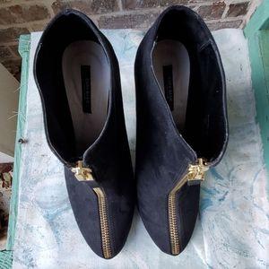 Zara Shoes - Zara Basic Black Suede Zipper Stiletto Booties